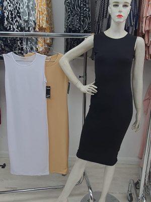 שמלה בסיס ללא שרוול שחורה