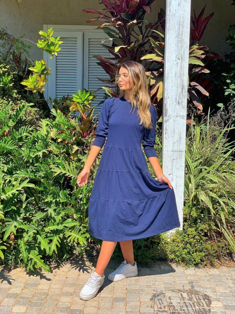 שמלה 4|3 קומות כחולה