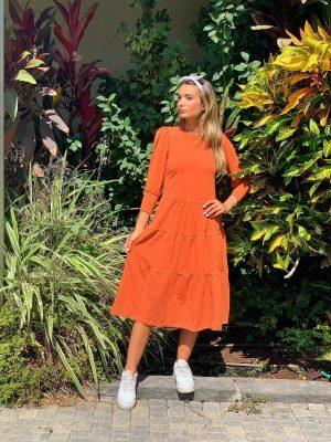 שמלה 4|3 קומות מגוון צבעים כתומה